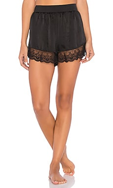 Satin Lace Ruffle Short in Black