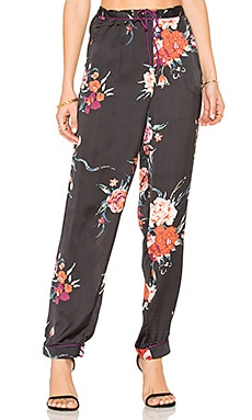 Botanical Floral Pant in Black & Red