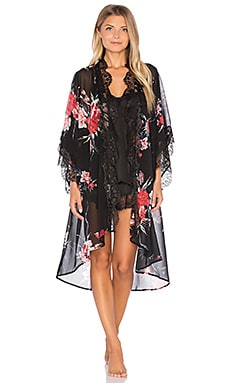 Band of Gypsies Vintage Floral Robe in Black & Red