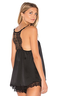 Satin Crochet Cami in Black