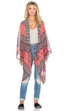 Band of Gypsies Long Kimono in Red, Coral & Rush
