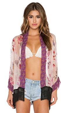 Band of Gypsies Fringe Kimono in Pink Multi