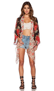Band of Gypsies Bohemian Kimono in Red Floral