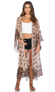Band of Gypsies Border Print Kimono in Brown & Gold