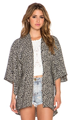 Band of Gypsies Tie Back Kimono in Black & Cream