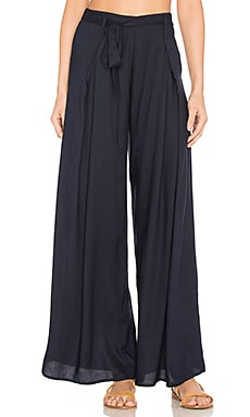 Tie Waist Wide Leg Pant in Navy