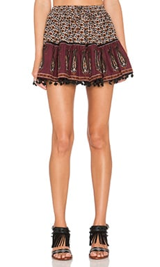 Band of Gypsies Pom Pom Mini Skirt in Burgundy & Black