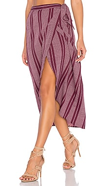Band of Gypsies Pin Stripe High Low Midi Skirt in Burgundy & Ivory