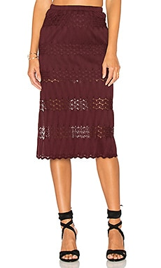 Crochet Midi Skirt in Wine