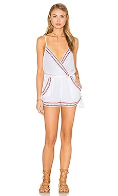 Band of Gypsies Sleeveless Side Tie Romper in Ivory & Red