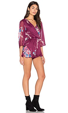 Band of Gypsies Bouquet Floral Romper in Burgundy & Teal