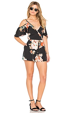 Large Floral Playsuit in Black & Coral