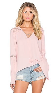 Band of Gypsies Bell Sleeve Blouse in Shell Pink