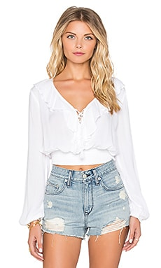 Band of Gypsies Ruffle Front Blouse in Ivory