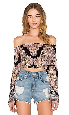 Band of Gypsies Printed Off the Shoulder Long Sleeve Crop Top in Black & Pink