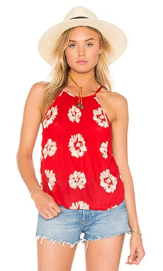 Crew Neck Tank in Red & Ivory