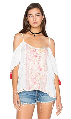 Short Sleeve Open Shoulder Blouse in Ivory & Coral