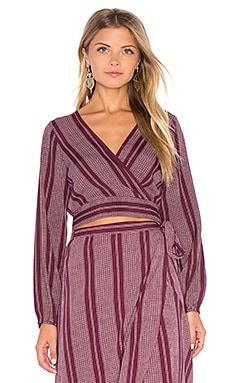 Band of Gypsies Surplice Pin Stripe Crop Top in Burgundy & Ivory