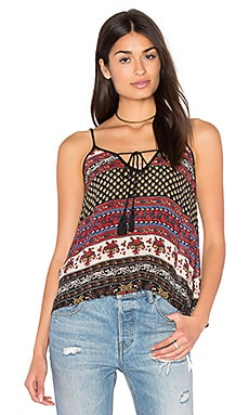 Band of Gypsies India Print Swing Cami in Black & Beige