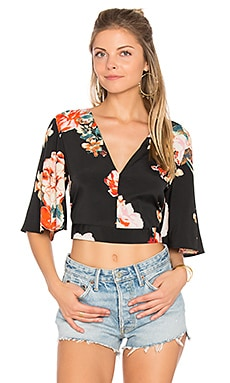 Large Floral Crop Top en Noir & Corail