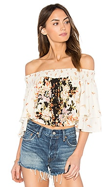 Poinsettia Floral Blouse in Cream & Black