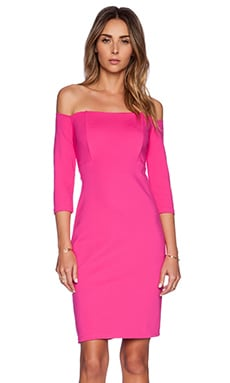 Bardot Off Shoulder Dress in Magenta