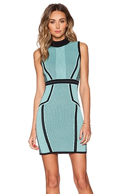 Bardot Linear Knit Dress in Teal & Black