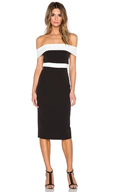 Bardot Two Tone Midi Dress en Noir & Ivoire