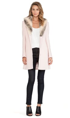 Bardot Veronika Faux Fur Coat in Blush