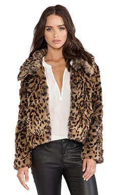 Bardot Crop Faux Fur Jacket in Leopard