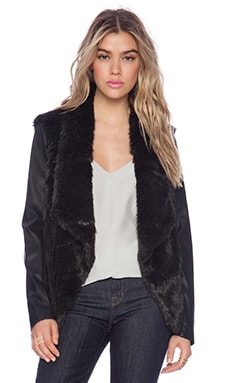 Bardot Midnight Assassin Faux Fur Jacket in Black