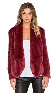 Bardot Waterfall Faux Fur Jacket in Crimson