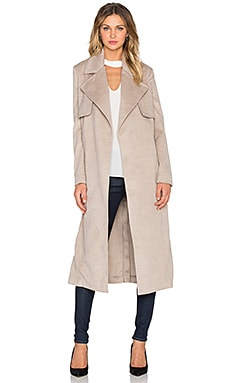 Felt Trench Coat in Oatmeal