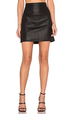 Bardot Snake Embossed Skirt in Black