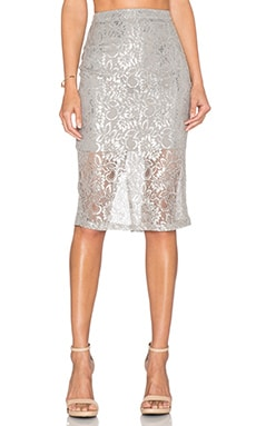 Bardot Lace Midi Skirt in Silver