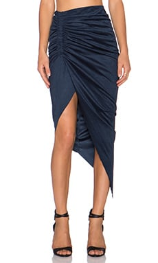 Bardot Sueded Ruched Skirt en Marine