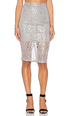 Bardot Deveaux Lace Midi Skirt in Silver