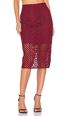 Calista Lace Skirt en Bordeaux