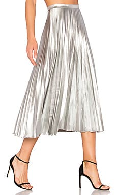 Pleated Skirt in Metallic Silver
