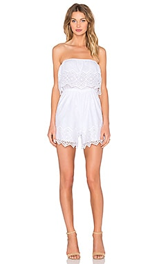 Bardot Veil Lace Playsuit in Orchid White