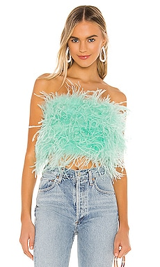 x REVOLVE Feather Bustier Bardot $199