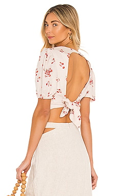Printed Tie Back Top Bardot $79 NEW