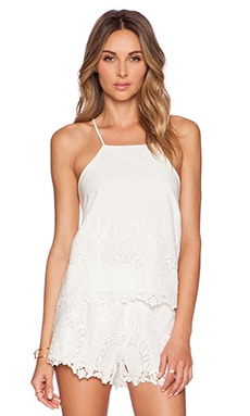 Bardot Lace Tank in White