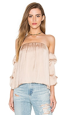 Caught Sleeve Bustier Top en Galet