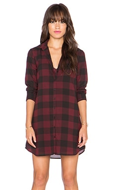 BB Dakota Cotter Plaid Shirt Dress en Bordeaux
