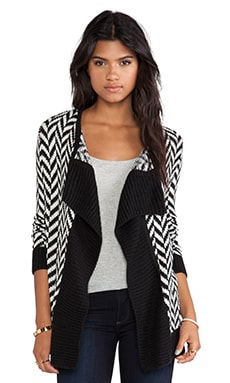 Turi Patterned Cardigan in Black & Ivory