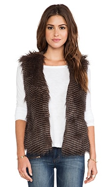 Jack by BB Dakota Duda Faux Fur Vest in Brown Multi