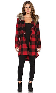 BB Dakota Jaslene Coat with Faux Fur Trim in Red