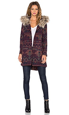 BB Dakota Dusty Coat With Faux Fur Trim in Multi