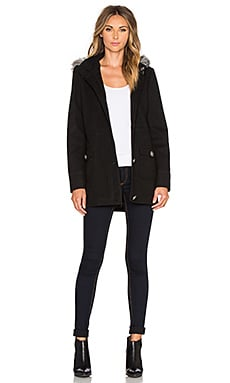 BB Dakota Jack by BB Dakota Diantha Coat With Faux Fur in Black
